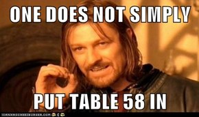 ONE DOES NOT SIMPLY  PUT TABLE 58 IN