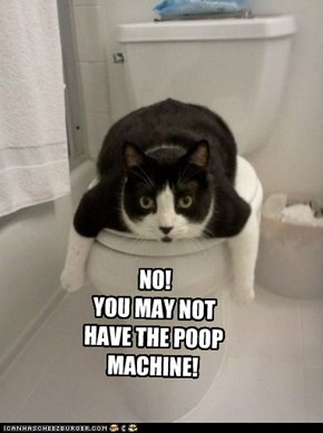 NO! YOU MAY NOT HAVE THE POOP MACHINE!