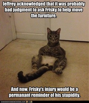 Jeffrey acknowledged that it was probably bad judgment to ask Frisky to help move the furniture.