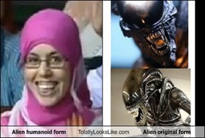 Alien humanoid form Totally Looks Like Alien original form