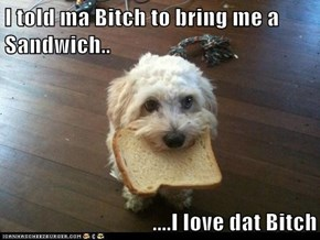 I told ma Bitch to bring me a Sandwich..  ....I love dat Bitch