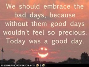 We should embrace the bad days, because without them good days wouldn't feel so precious.  Today was a good day.