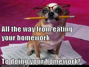 All the way from eating your homework To doing your homework!