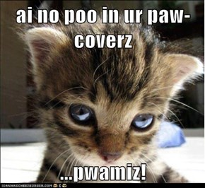 ai no poo in ur paw-coverz  ...pwamiz!