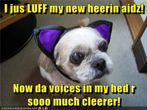 I jus LUFF my new heerin aidz!  Now da voices in my hed r sooo much cleerer!