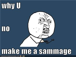 why U no  make me a sammage