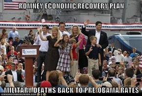 ROMNEY ECONOMIC RECOVERY PLAN  MILITARY DEATHS BACK TO PRE-OBAMA RATES