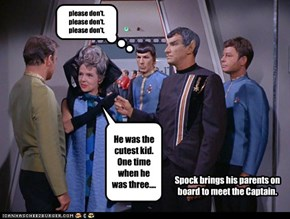 Spock brings his parents on board to meet the Captain.