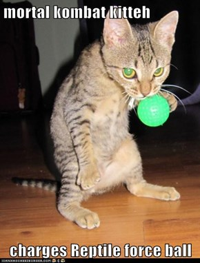mortal kombat kitteh  charges Reptile force ball