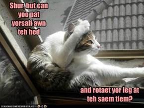 I Can Pat Mai Hed And Rotaet Mai Leg Simultaneusly.