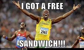 I GOT A FREE  SANDWICH!!!