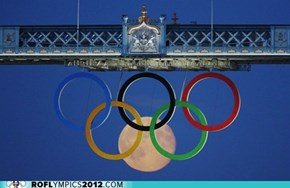 The Moon Joins The Olympic Rings Under Tower-Bridge