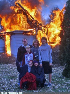 "What? Fire? No, You're Supposed To Say ""Cheese!"""