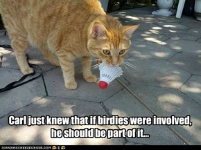 Carl just knew that if birdies were involved, he should be part of it...