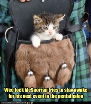 Wee Jock McSporran tries to stay awake for his next event in the pentathalon