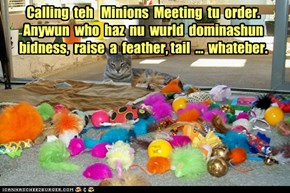 Calling  teh   Minions  Meeting  tu  order.  Anywun  who  haz  nu  wurld  dominashun  bidness,  raise  a  feather, tail  ...  whateber.