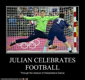 JULIAN CELEBRATES FOOTBALL