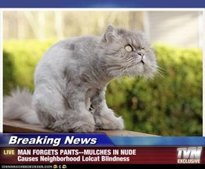 Breaking News - MAN FORGETS PANTS--MULCHES IN NUDE Causes Neighborhood Lolcat Blindness