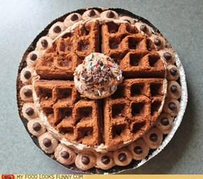 Chocolate Cheesecake Waffle Pie