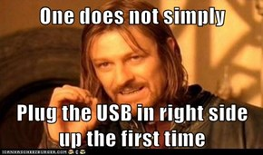 One does not simply  Plug the USB in right side up the first time
