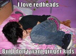 I love redheads   But I don't want ginger kids