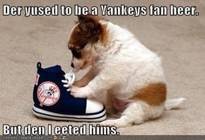 Der yused to be a Yankeys fan heer.  But den I eeted hims.