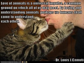 Love of animals is a universal impulse, a common ground on which all of us may meet. By loving and understanding animals, perhaps we humans shall come to understand                                                             each other.   - Dr. Louis J.Ca
