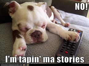 NO!  I'm tapin' ma stories