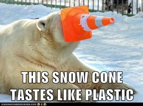 THIS SNOW CONE TASTES LIKE PLASTIC