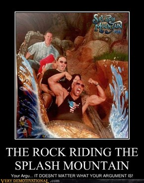 THE ROCK RIDING THE SPLASH MOUNTAIN
