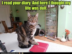 I read your diary. And here I thought my life was dull.