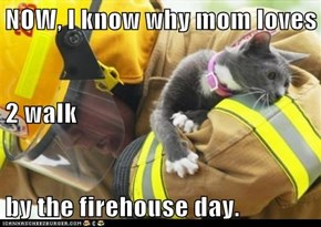 NOW, I know why mom loves 2 walk by the firehouse day.