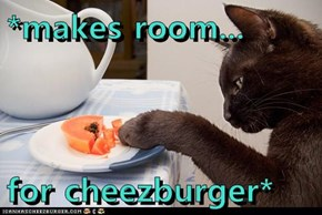 *makes room...  for cheezburger*