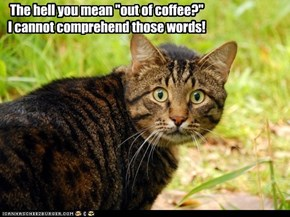 "The hell you mean ""out of coffee?"" I cannot comprehend those words!"
