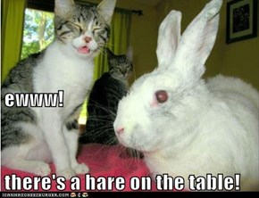 ewww! there's a hare on the table!
