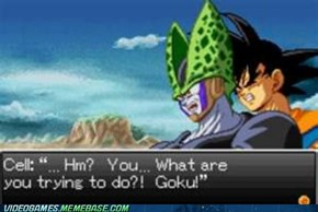 What is Goku doing to the poor Cell?