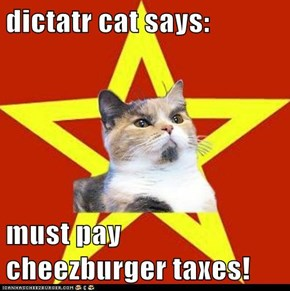 dictatr cat says:  must pay cheezburger taxes!