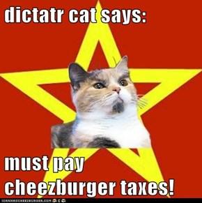 dictatr cat says:  must pay cheezburger taxes!