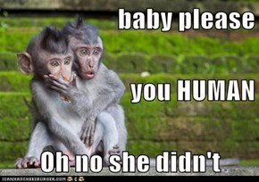 baby please you HUMAN Oh no she didn't