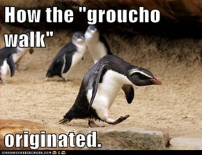 "How the ""groucho walk""  originated."