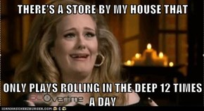 THERE'S A STORE BY MY HOUSE THAT  ONLY PLAYS ROLLING IN THE DEEP 12 TIMES A DAY