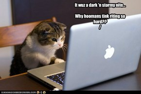 It wuz a dark 'n stormy nite...  Why hoomans tink riting so hard?? /