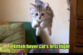 Kitteh hover cat's first flight