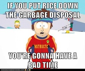IF YOU PUT RICE DOWN THE GARBAGE DISPOSAL  YOU'RE GONNA HAVE A BAD TIME