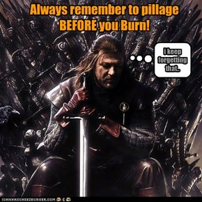 Always remember to pillage BEFORE you Burn!
