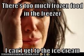 There's too much frozen food in the freezer  I can't get to the ice cream