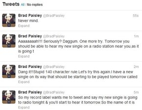 Brad Paisley Tries to Promote New Single Through Twitter, Gets Denied (Tweenied?)