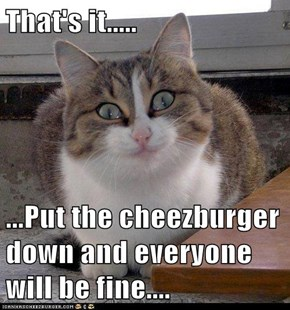 That's it.....  ...Put the cheezburger down and everyone will be fine....