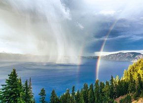 Rainbows and Storms Over Crater Lake