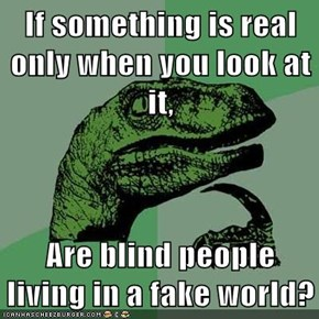 If something is real only when you look at it,  Are blind people living in a fake world?
